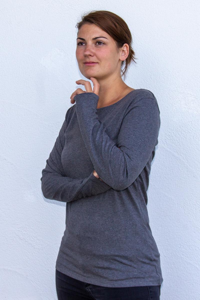 dunkelgrau-Damen-shirt-für-Dialysepatienten-mit-individuellem-Reißverschluss-Diazipp-Dialyse-Bekleidung-Dialyse-Infusion