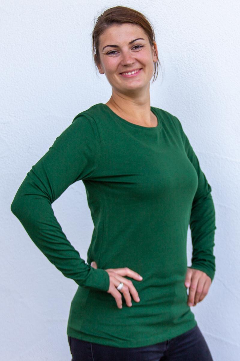 flaschengrün-Damen-shirt-für-Dialysepatienten-mit-individuellem-Reißverschluss-Diazipp-Dialyse-Bekleidung-Dialyse-Infusion