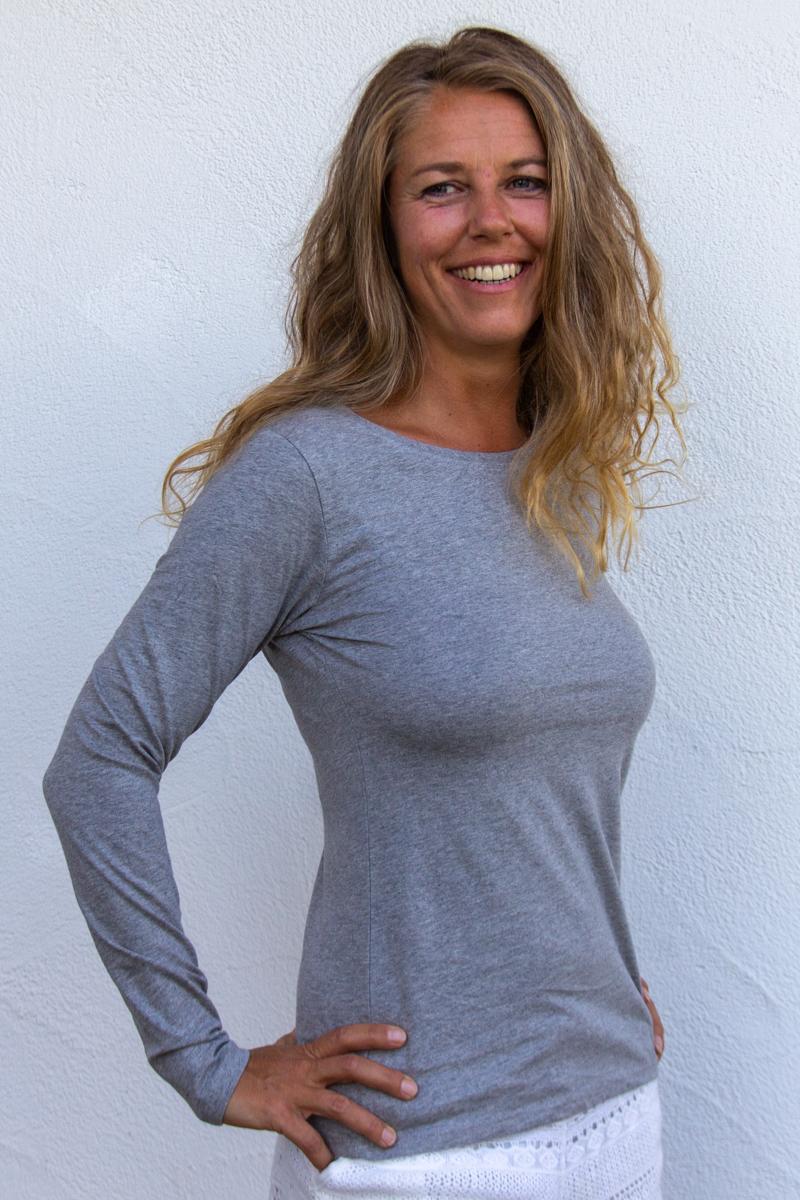 hellgrau-Damen-shirt--für-Dialysepatienten-mit-individuellem-Reißverschluss-Diazipp-Dialyse-Bekleidung-Dialyse-Infusion