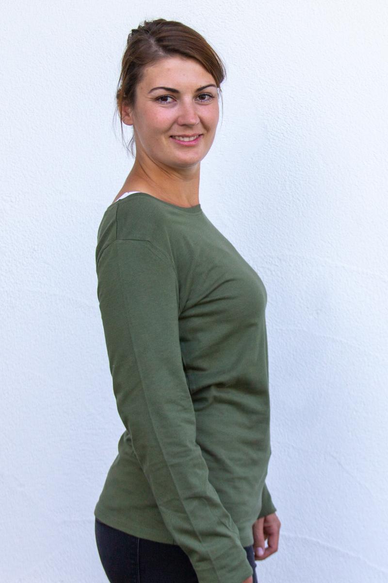 kaki-Damen-shirt-für-Dialysepatienten-mit-individuellem-Reißverschluss-Diazipp-Dialyse-Bekleidung-Dialyse-Infusion