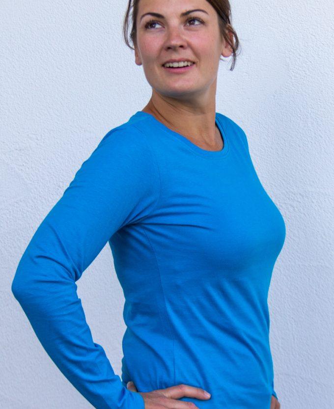aquablau-Damen-shirt-für-Dialysepatienten-mit-individuellem-Reißverschluss-Diazipp-Dialyse-Bekleidung