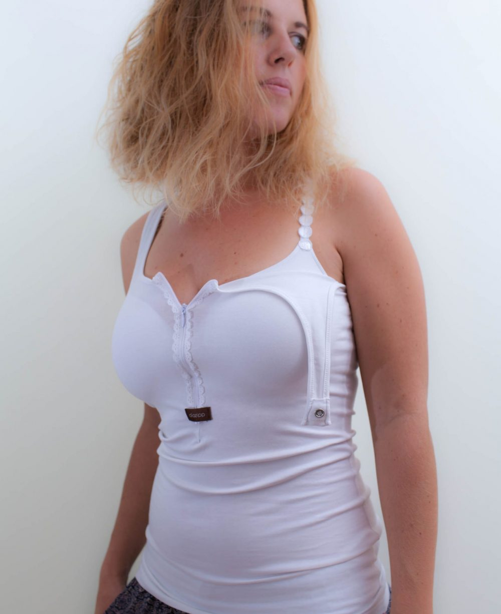 weiss-Damen-Katheterhemd-diazipp