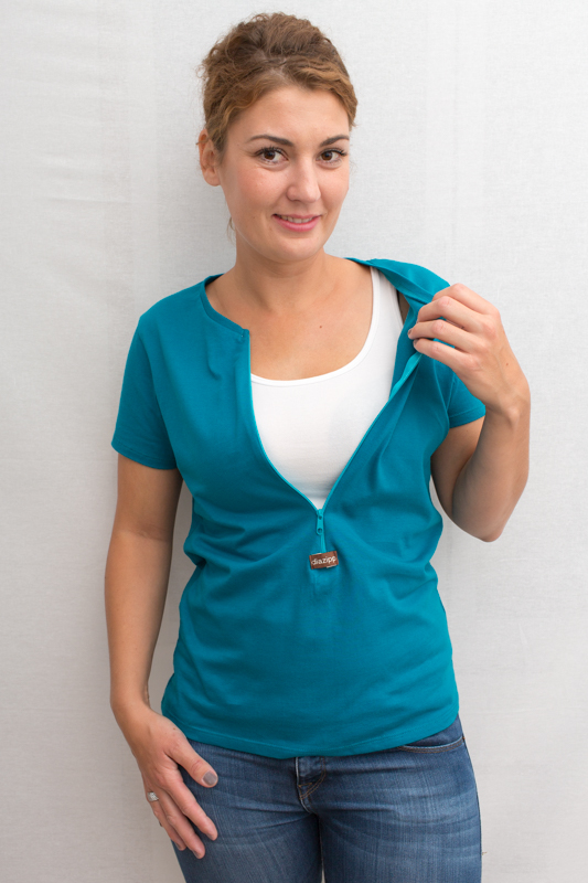blau-Damenkurzarmshirt-Katheter-oder-Port-diazipp-für-dialysepatienten-diazipp-4