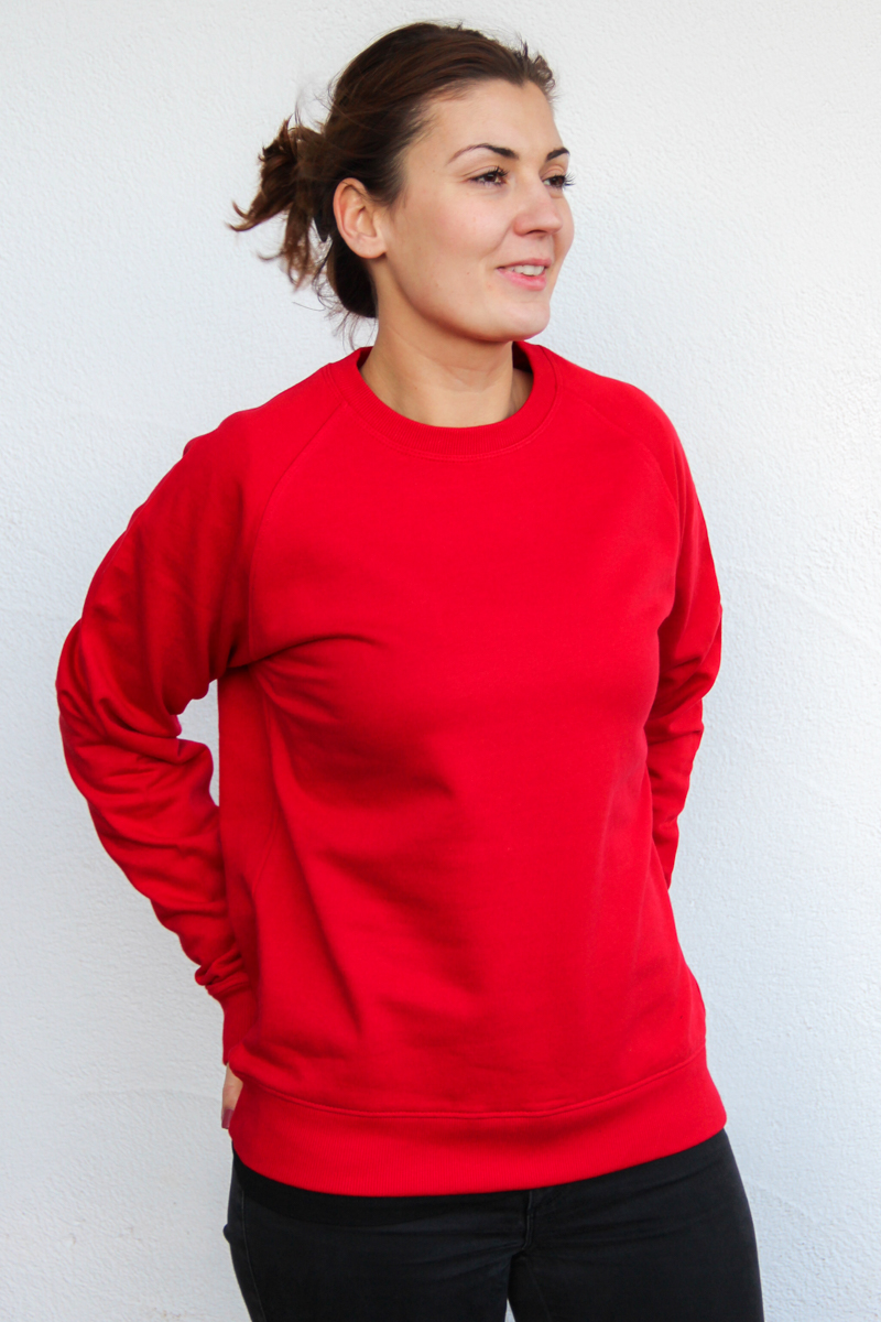 rot-Damen-sweater-für-dialysepatienten-diazipp-dialysebekleidung