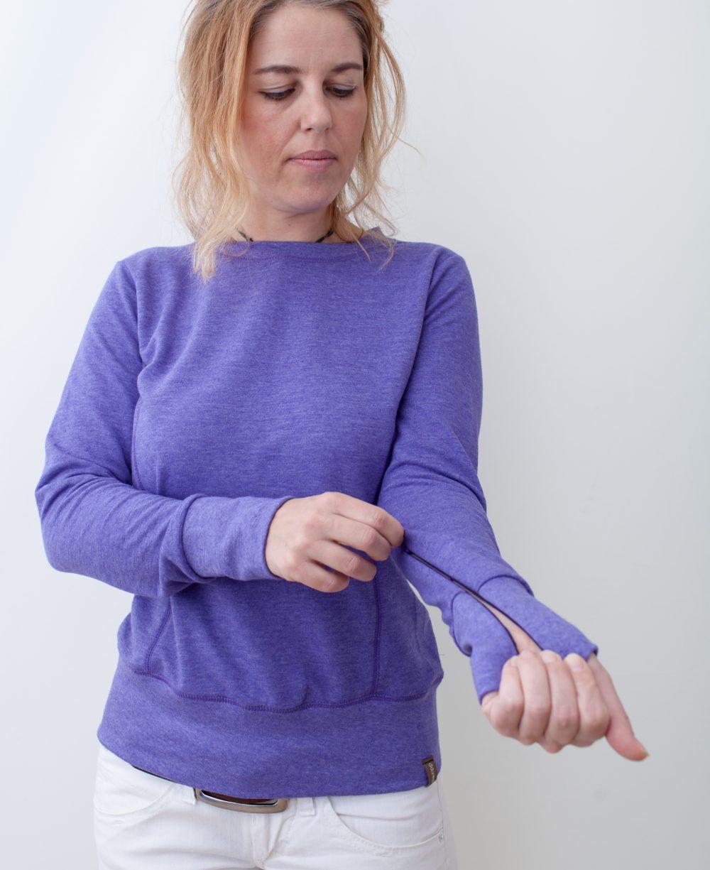 lila-damen-pullover-für-dialysepatienten-mit-individuellem-reißverschluss-diazipp