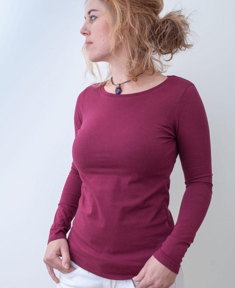 weinrot-Damenshirt-BIO-für-dialysepatienten-mit-individuellem-reißverschluss-diazipp-dialysebekleidung