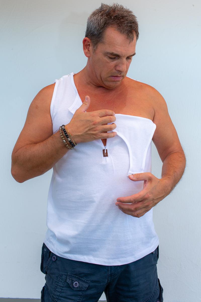 weiss-herren-Kathteterhemd-für-dialysepatienten-diazipp-4