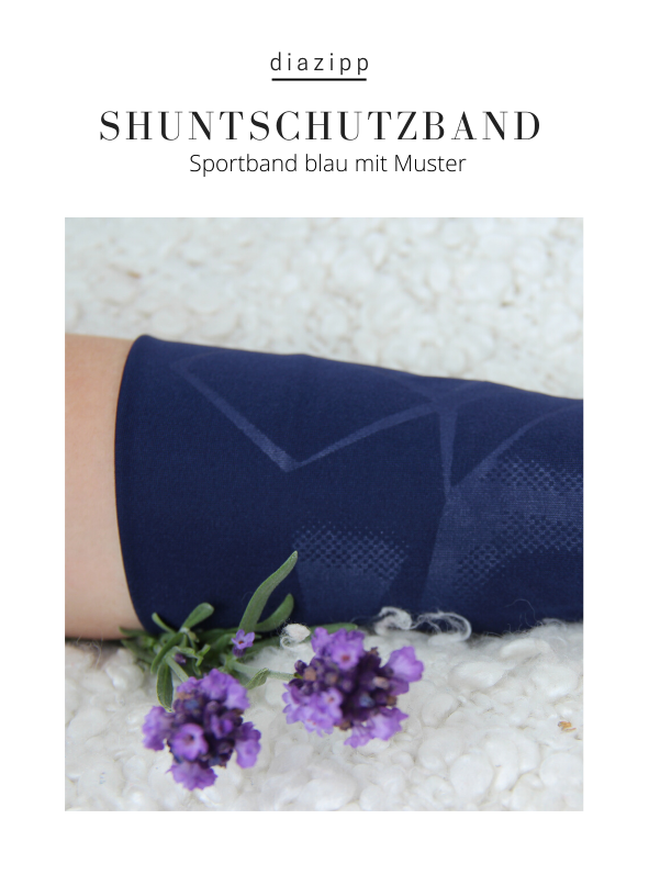 blau-damen-Sportband-für-dialysepatienten-diazipp-dialysebekleidung-dialyse-Infusion