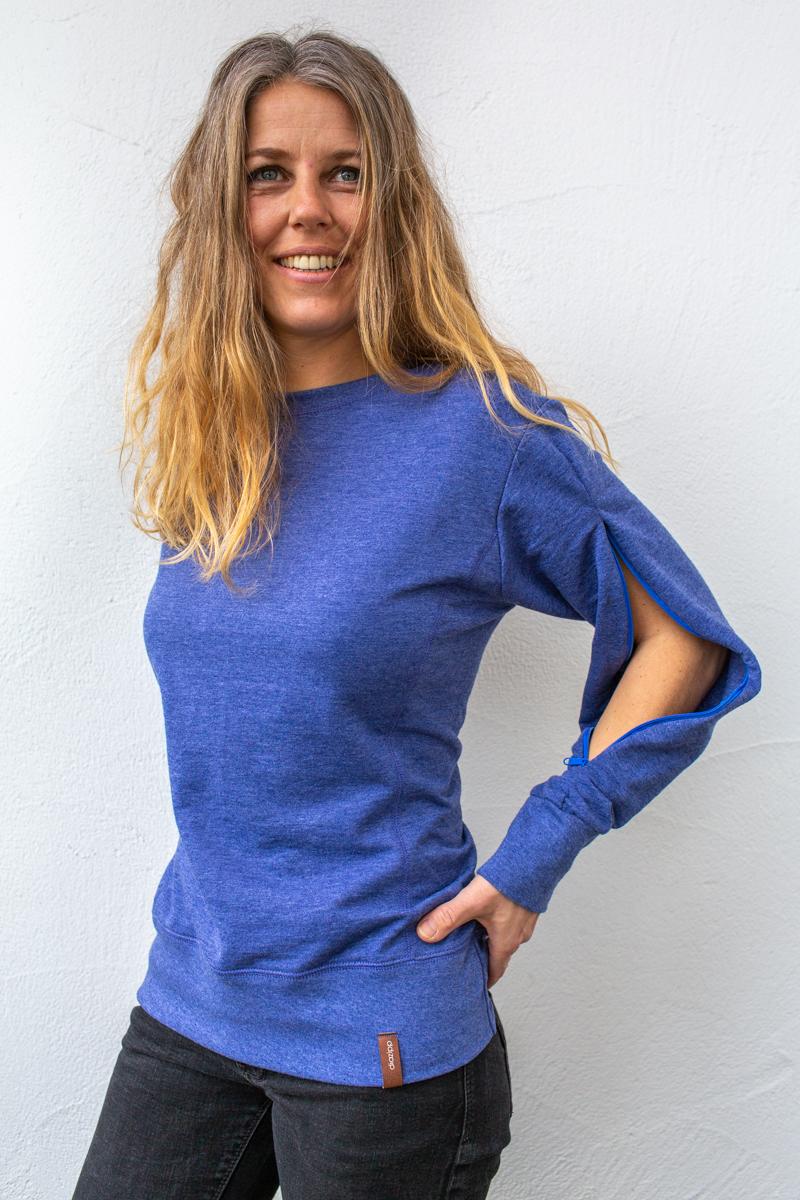 dunkelblau-damen-Pullover-für-dialysepatienten-mit-individuellem-reißverschluss-diazipp