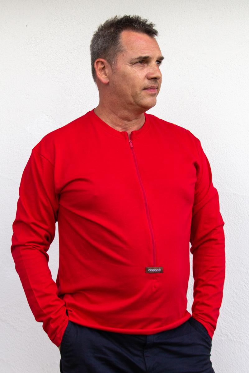 rot-Herren-Herrenlangarmshirt-für-Dialysepatienten-Diazipp-Dialyse-Bekleidung