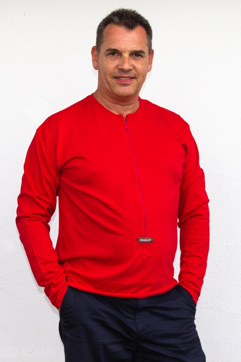 rot-Herren-Herrenlangarmshirt-für-Dialysepatienten-Diazipp-Dialyse-Bekleidung-für-Katheter