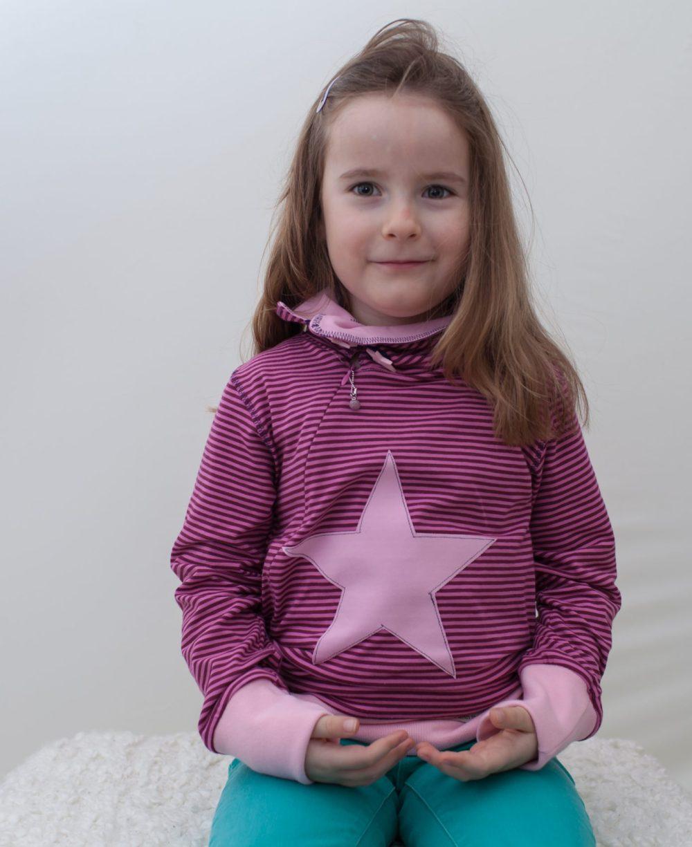rosa-Sternschnuppe-kids-mädchen-sweater-für-dialysepatienten-mit-individuellem-reißverschluss-diazipp-dialysebekleidung-made-with-love