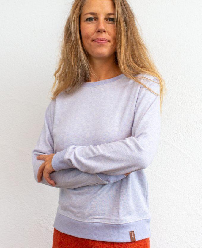 Hell-Lila-Damen Pullover-für-Dialysepatienten-mit-individuellem-Reißverschluss-Diazipp-Dialyse-bekleidung