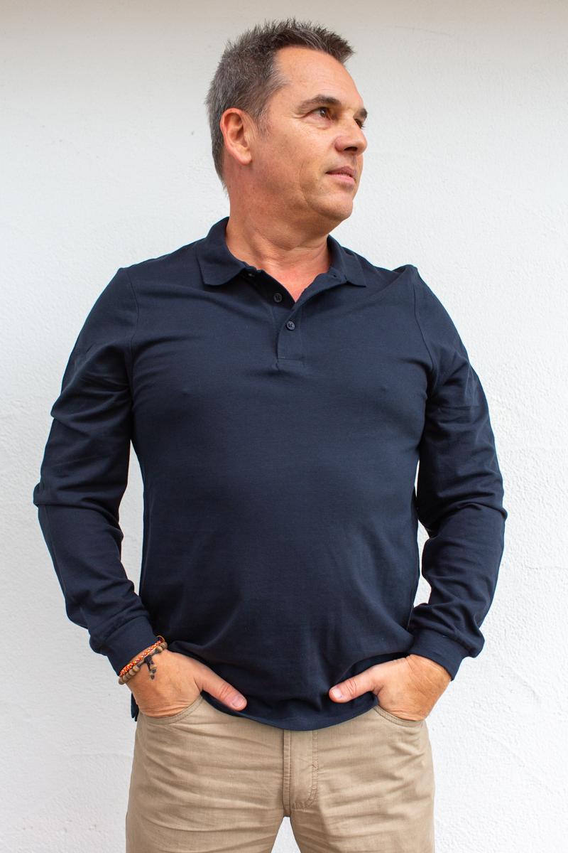 dunkelblau-Herren-Poloshirt-für-Dialysepatienten-mit-individuellem- Reißverschluss-Diazipp-Dialyse-Bekleidung