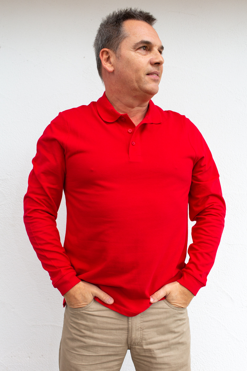 rot-Herren-Poloshirt-für-Dialysepatienten-mit-individuellem- Reißverschluss-Diazipp-Dialyse-Bekleidung