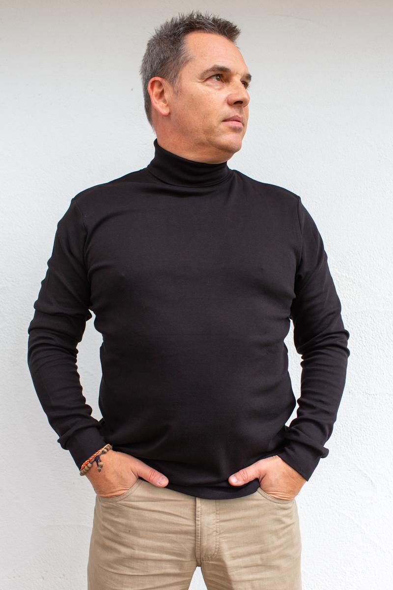 schwarz-Herren-Rollkragenshirt-für-Dialysepatienten-mit-individuellem-Reißverschluss-Diazipp-Dialyse-bekleidung