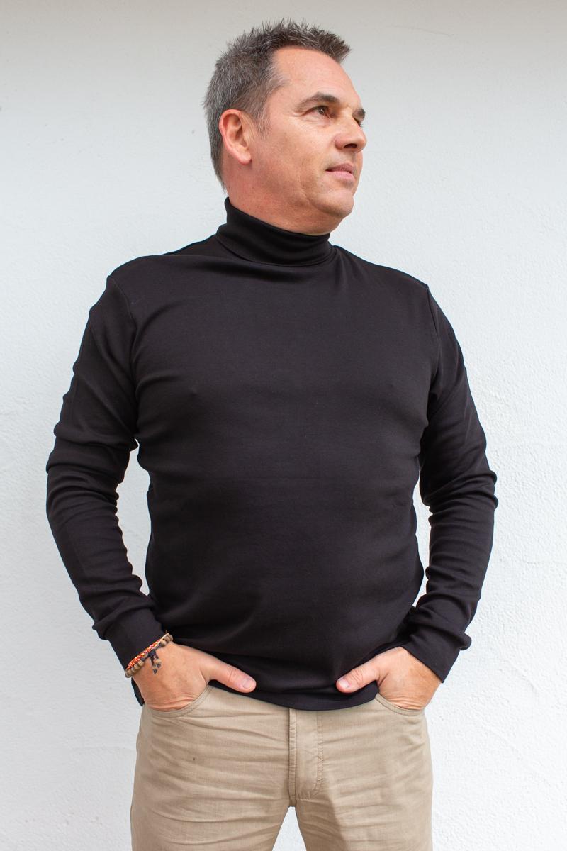 schwarz-Herren-Rollkragenshirt-für-Dialysepatienten-mit-individuellem-Reißverschluss-Diazipp-Dialyse-bekleidung-Dialyse-Infusion