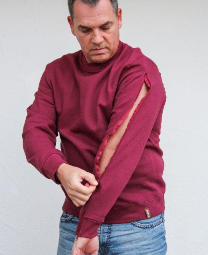 weinrot-herren-pullover-für-dialysepatienten-mit-individuellem-reißverschluss-diazipp-dialyse-bekleidung-infusion-dialyse